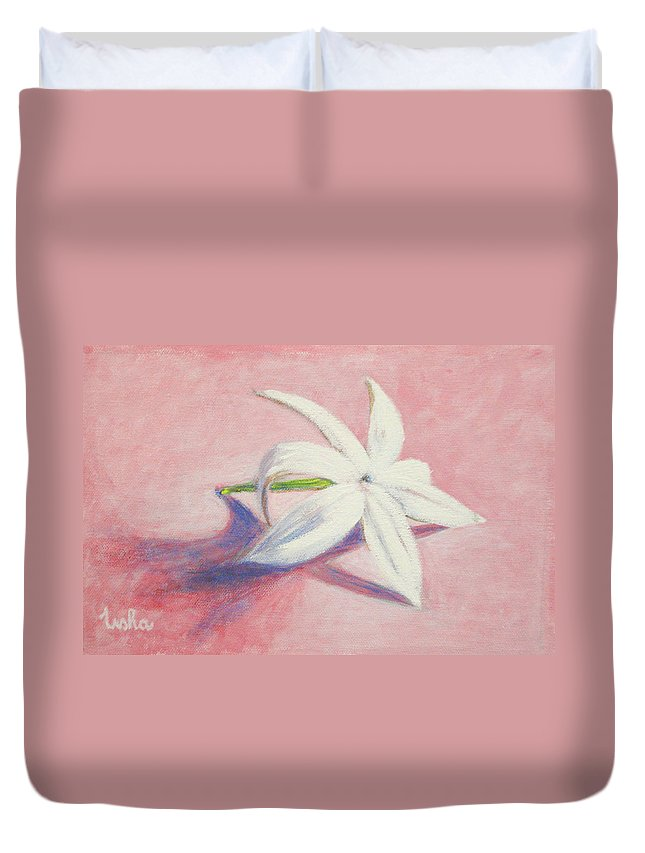 Portrait Duvet Cover featuring the painting Portrait Of The Jasmine Flower by Usha Shantharam