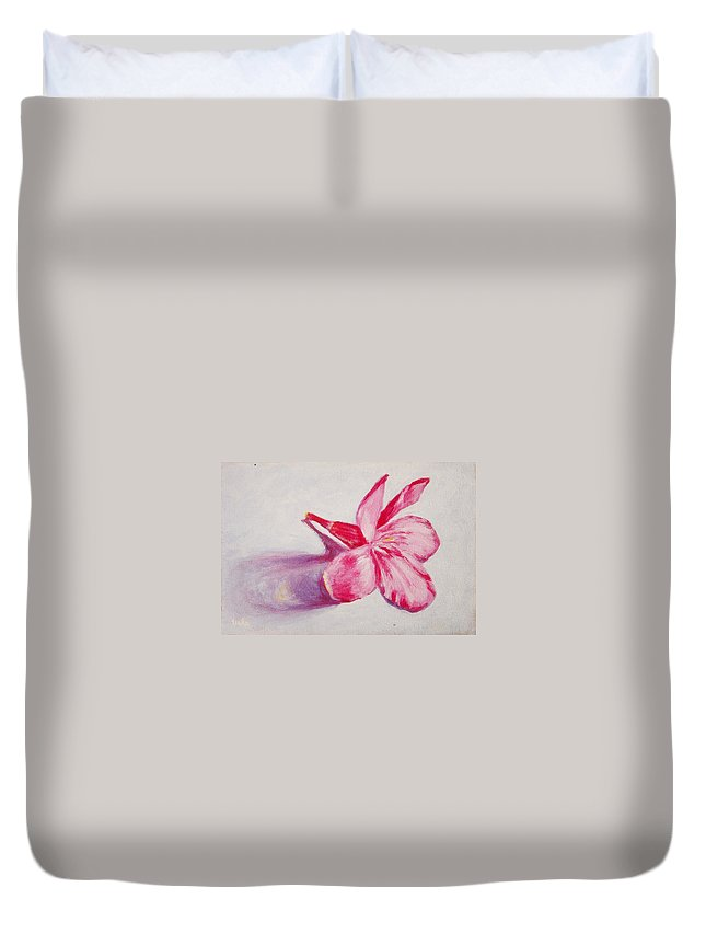 Genneri Duvet Cover featuring the painting Portrait Of The Kaneri Flower. Oleander by Usha Shantharam