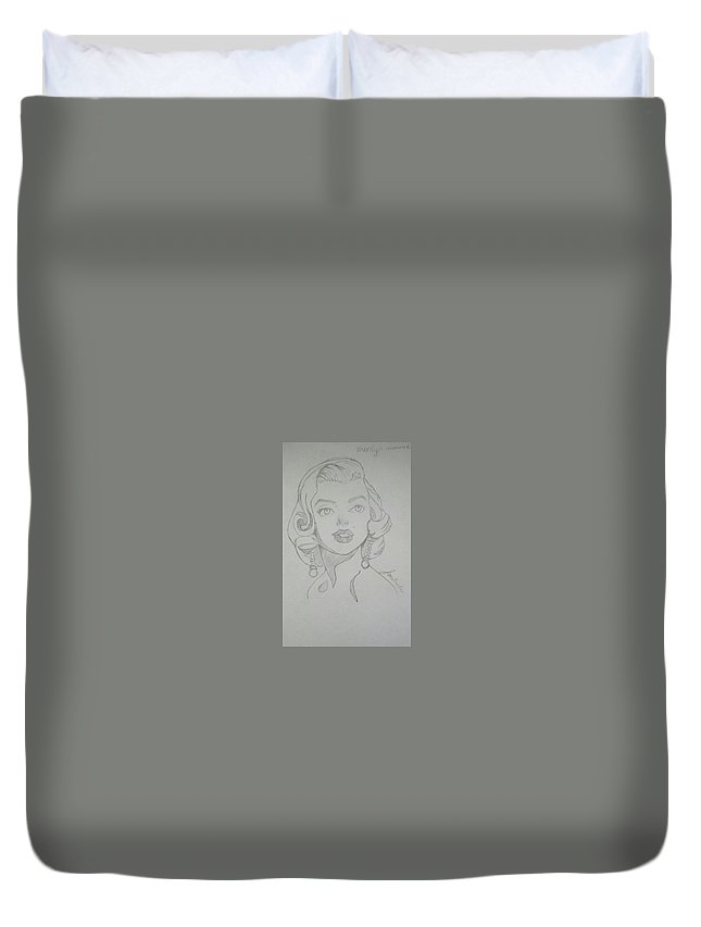 Portrait Duvet Cover featuring the drawing Portrait Of The Tragic Marilyn Monroe, In Graphite by Jonathan Le