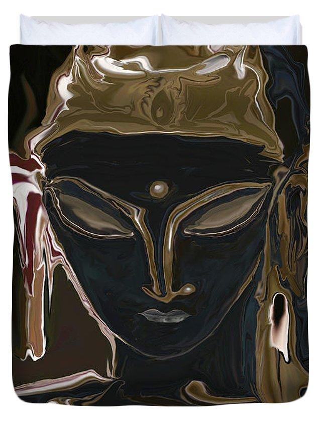 Art Duvet Cover featuring the digital art Portrait Of Vajrasattva by Rabi Khan