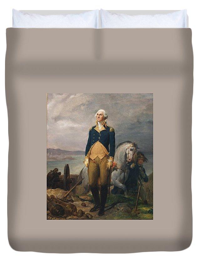 Léon Cogniet George Washington Duvet Cover featuring the painting Portrait Of Washington by MotionAge Designs