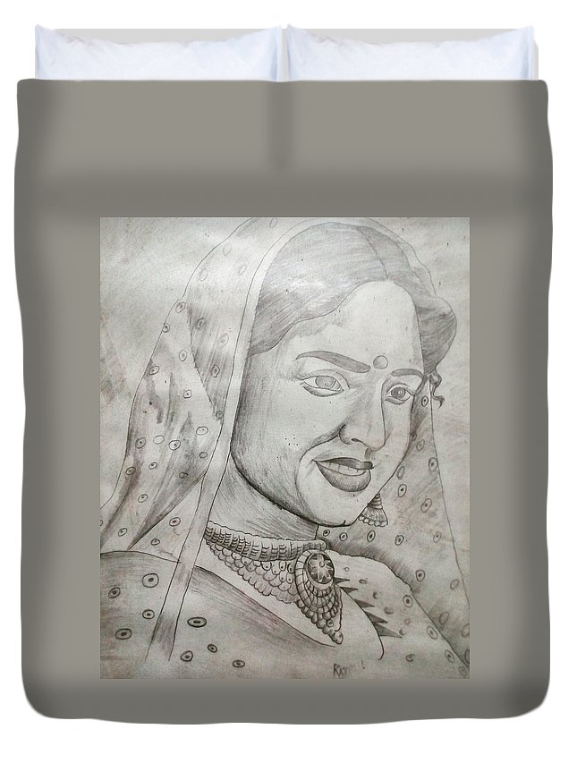 Sketch Art Duvet Cover featuring the drawing Portrait by Rajesh Sumar Rj