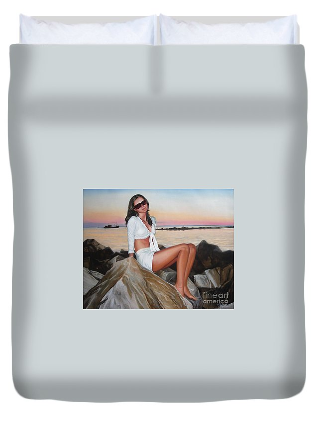Art Duvet Cover featuring the painting Portrait by Sergey Ignatenko