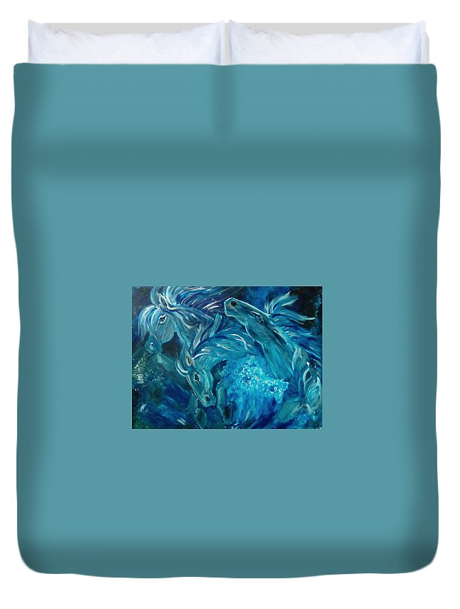 Abstract Duvet Cover featuring the painting Poseidon's Horses by Elyse Hill