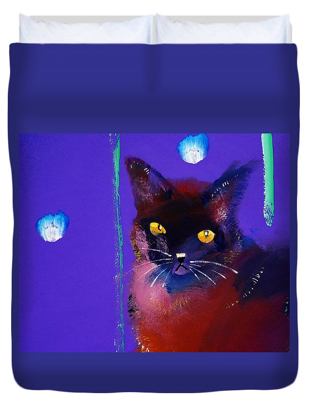 Cat Duvet Cover featuring the painting Posh Tom Cat by Charles Stuart