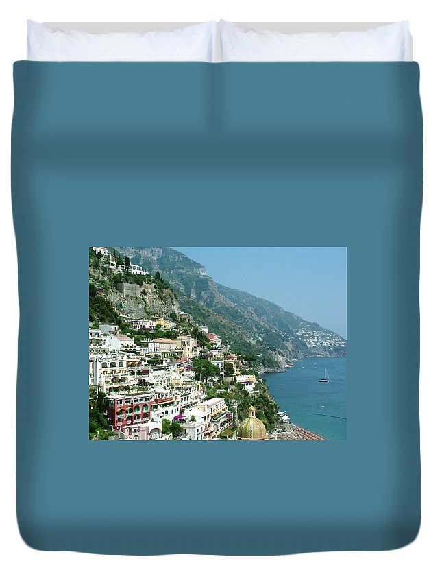 Positano Duvet Cover featuring the photograph Positano In The Afternoon by Donna Corless