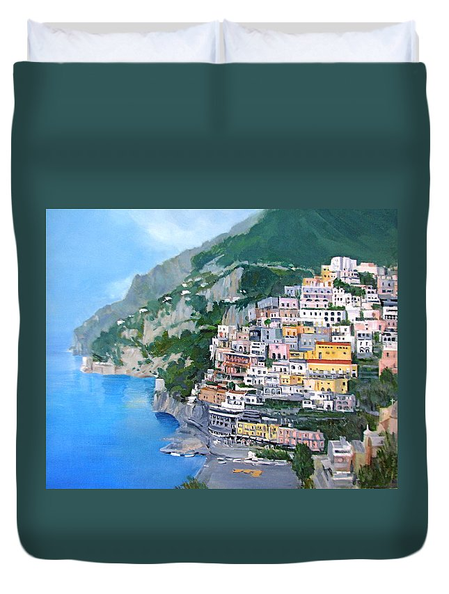 Coast Duvet Cover featuring the painting Positano by Neal Smith-Willow