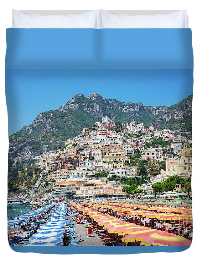 Positano Duvet Cover featuring the photograph Positano Resort by Anastasy Yarmolovich