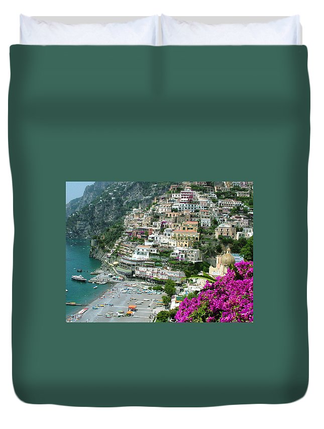Positano Duvet Cover featuring the photograph Positano's Beach by Donna Corless