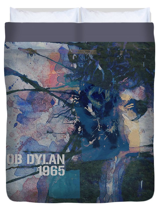 Bob Dylan Duvet Cover featuring the painting Positively 4th Street by Paul Lovering