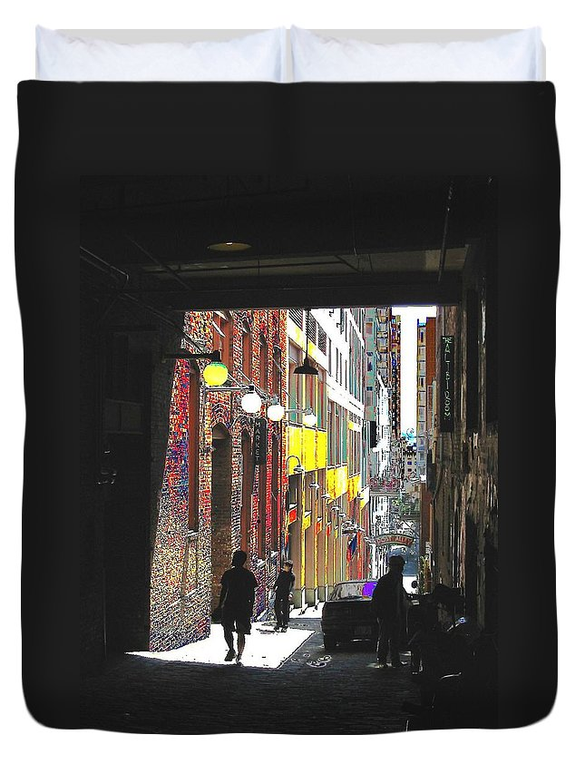 Seattle Duvet Cover featuring the digital art Post Alley by Tim Allen