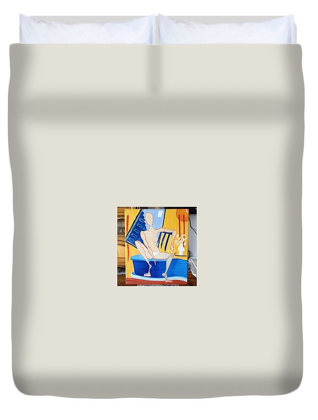 Sitting Nude Woman Modern Vase Flowers Oil Duvet Cover featuring the painting Post-coital by Costin Tudor