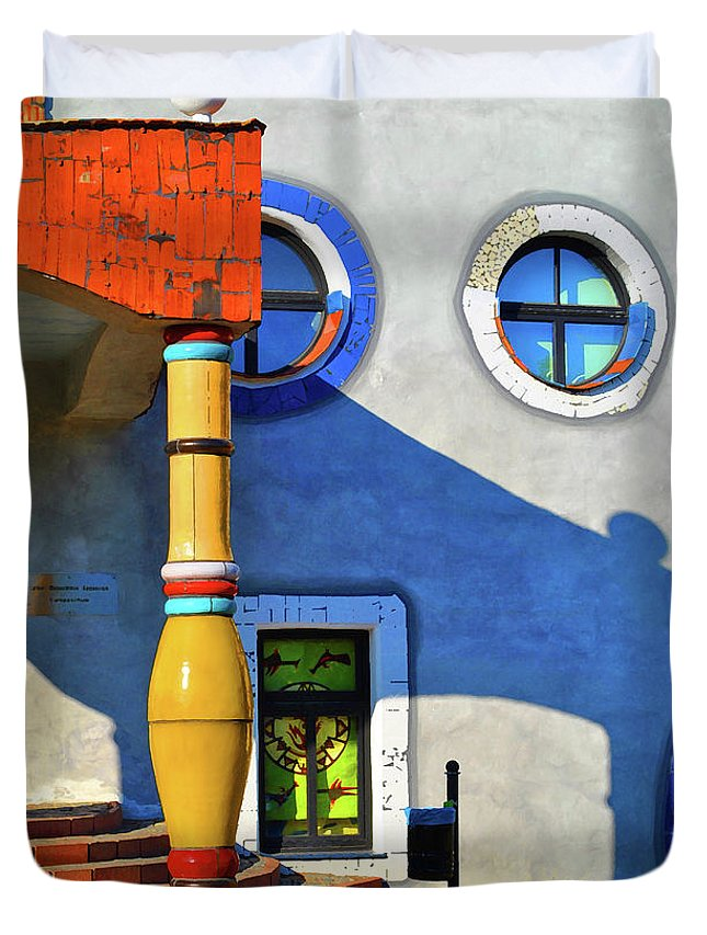 Window Duvet Cover featuring the photograph Post Of Hundertwasser by Jost Houk