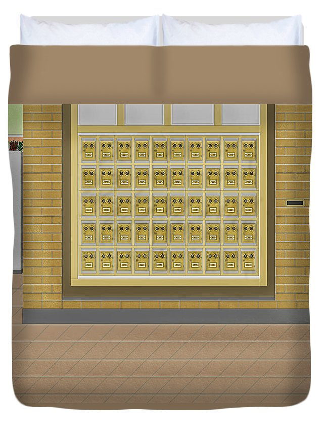 Post Office Boxes Duvet Cover featuring the painting Post Office And Store At Ralston by Anne Norskog