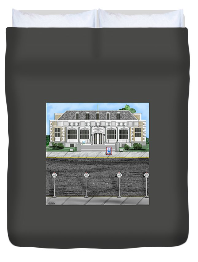 Townscape Duvet Cover featuring the painting Post Office In Thermopolis by Anne Norskog