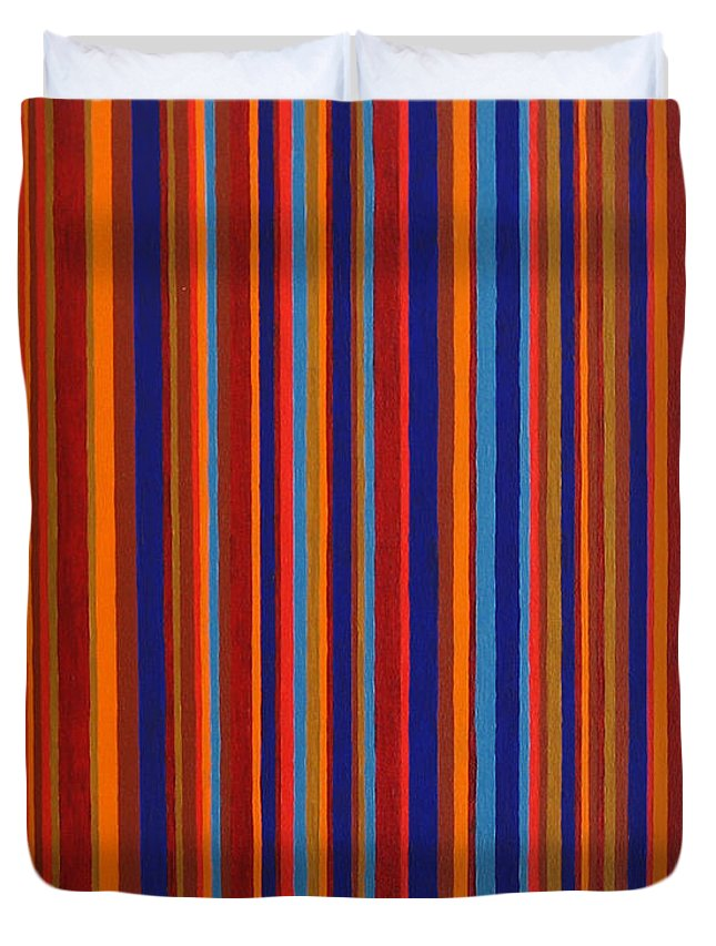 Stripes Duvet Cover featuring the painting Post Pictura by Oliver Johnston