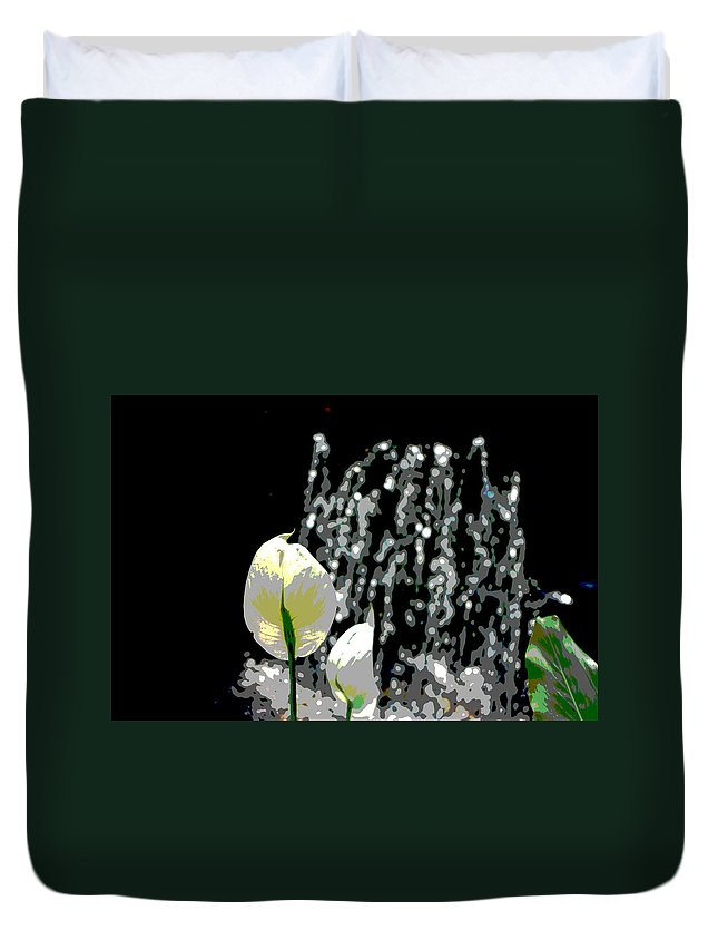 Posterized Duvet Cover featuring the digital art Posterized Fountain And Flower by Alice Markham