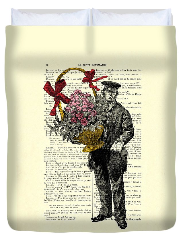 Postman Duvet Cover featuring the digital art Postman Delivering Bouquet Of Flowers by Madame Memento