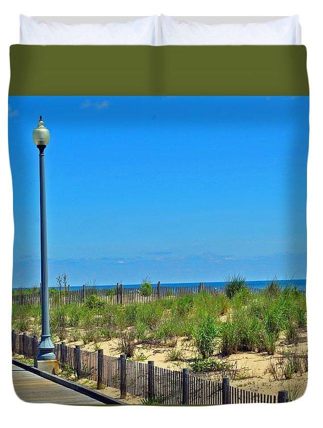 Rehoboth Duvet Cover featuring the photograph Posts Of The Sea by Jost Houk