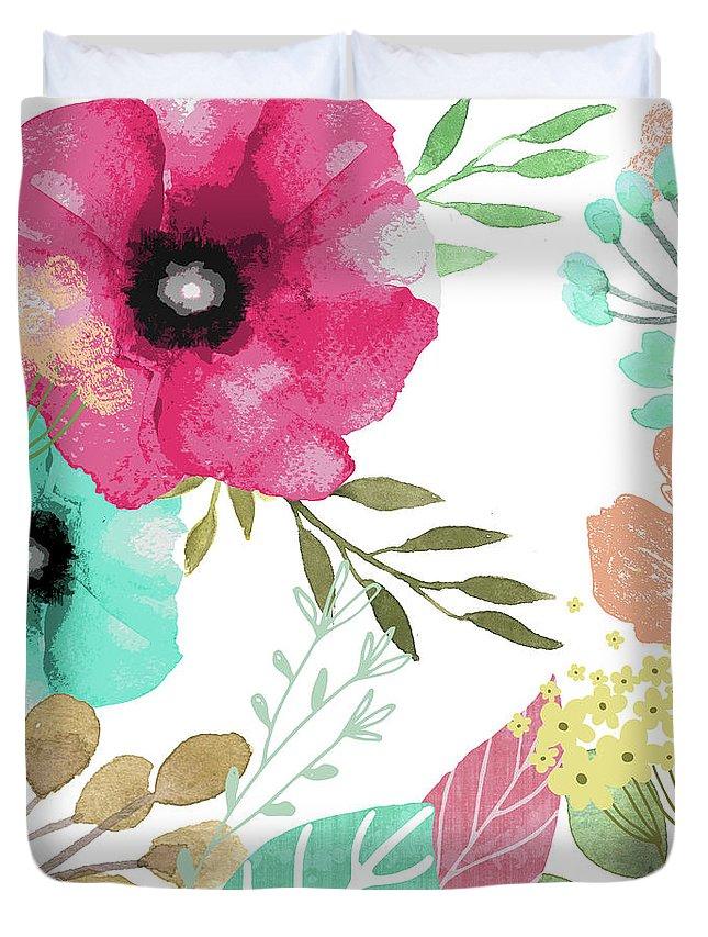 Flowers Duvet Cover featuring the painting Posy by Mindy Sommers