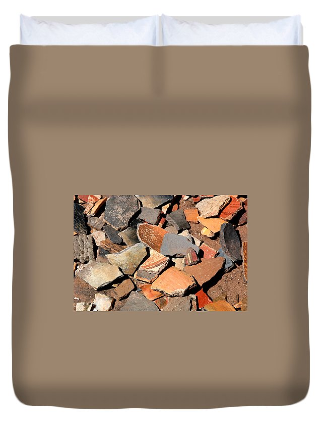 Native American Duvet Cover featuring the photograph Pot Shards by Joe Kozlowski