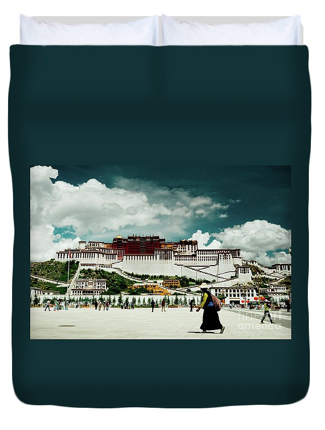 Tibet Duvet Cover featuring the photograph Potala Palace. Lhasa, Tibet. Yantra.lv by Raimond Klavins