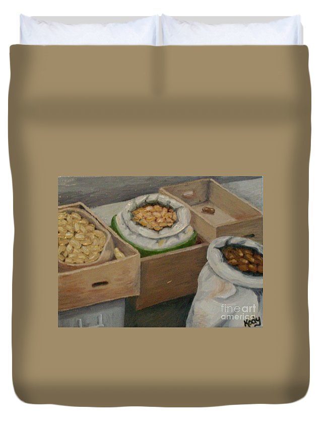 Print Duvet Cover featuring the photograph Potato Market Ireland by Karen Desrosiers