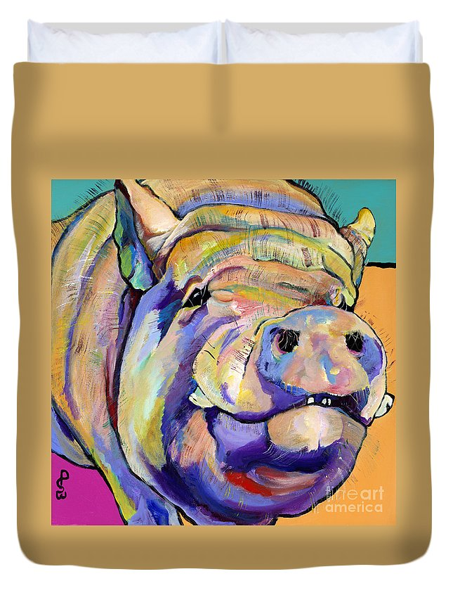 Pig Prints Duvet Cover featuring the painting Potbelly by Pat Saunders-White