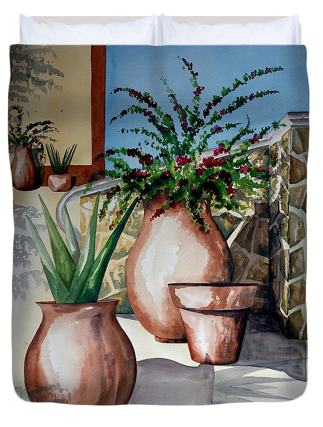 Floral Painting Duvet Cover featuring the painting Pots And Bougainvillea by Kandyce Waltensperger