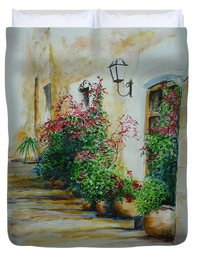 Earthenware Pots Duvet Cover featuring the painting Pots And Plants by Lizzy Forrester