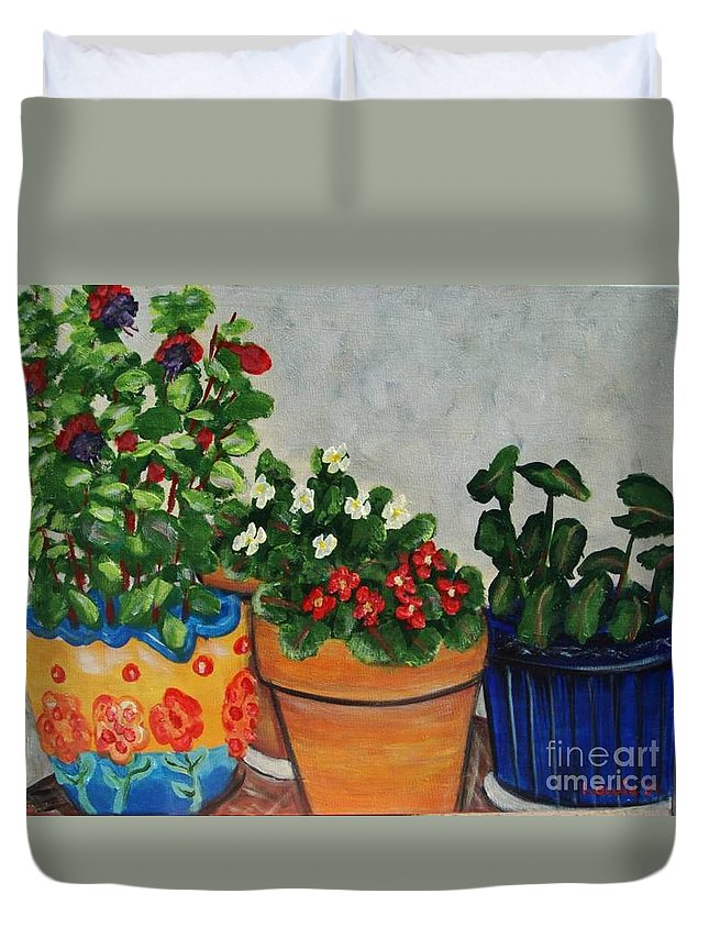 Ceramic Pots Duvet Cover featuring the painting Pots Showing Off by Laurie Morgan