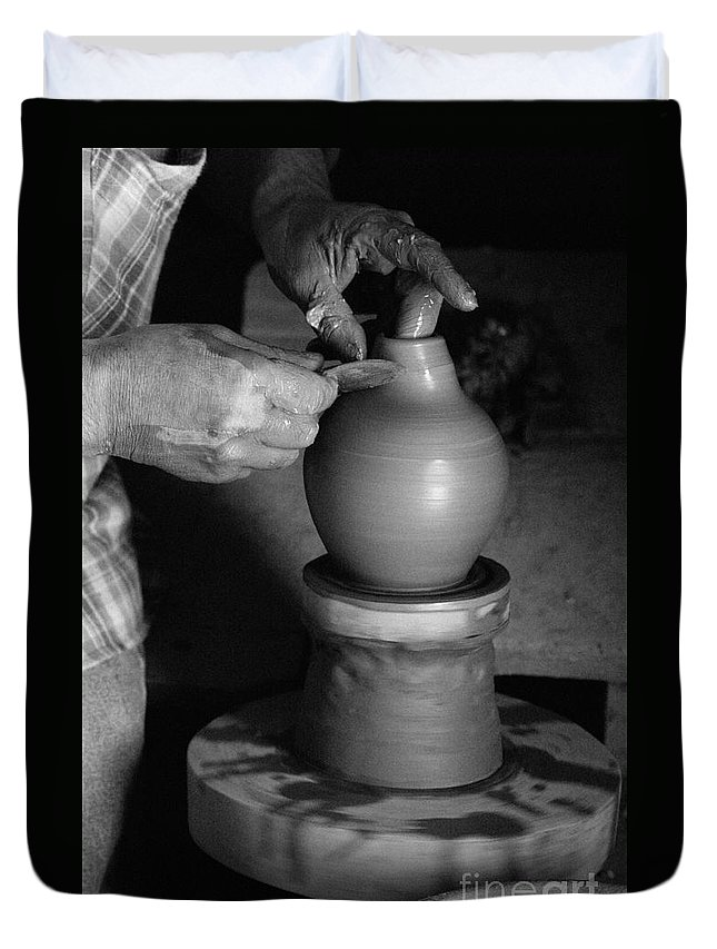 Azores Duvet Cover featuring the photograph Potter At Work by Gaspar Avila
