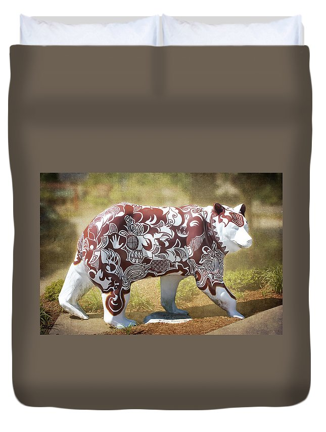 Pottery Bear Duvet Cover featuring the photograph Pottery Bear by Cynthia Woods