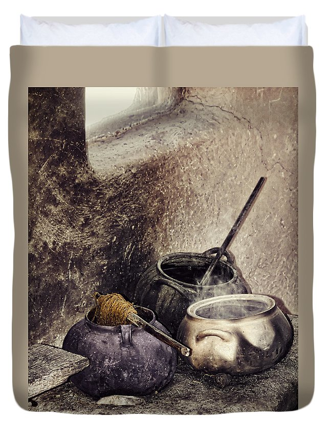 Still Life Duvet Cover featuring the photograph Pottery Of The South by Stephen Rudolph