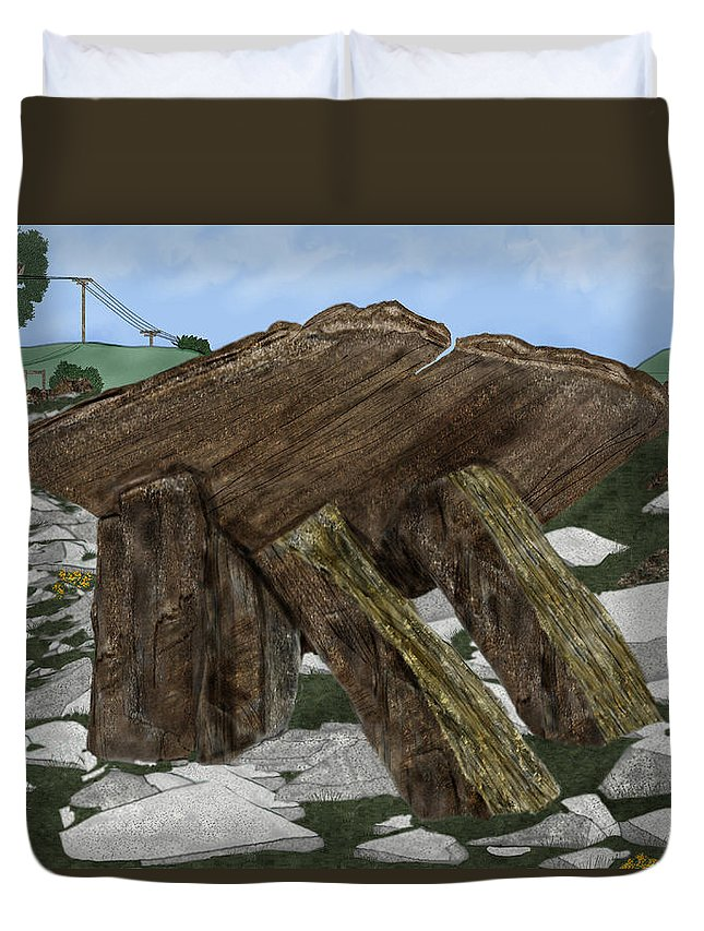 Landscape Duvet Cover featuring the painting Poulnabrone Dolmen County Clare Ireland by Anne Norskog