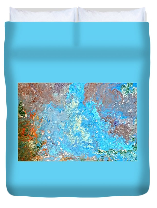 Acrylic Pour Duvet Cover featuring the painting Siskiyou Creek by Valerie Josi