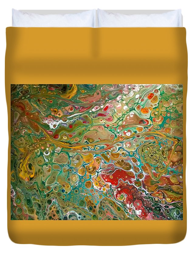 Pour Duvet Cover featuring the painting Pour10 by Valerie Josi