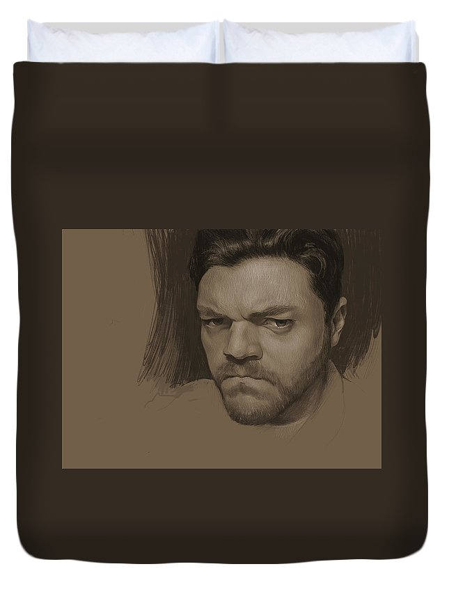 Self Duvet Cover featuring the digital art Pouting Self Portrait by Joe Velez
