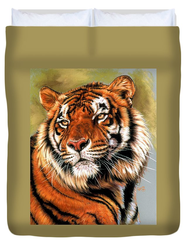 Tiger Duvet Cover featuring the pastel Power And Grace by Barbara Keith