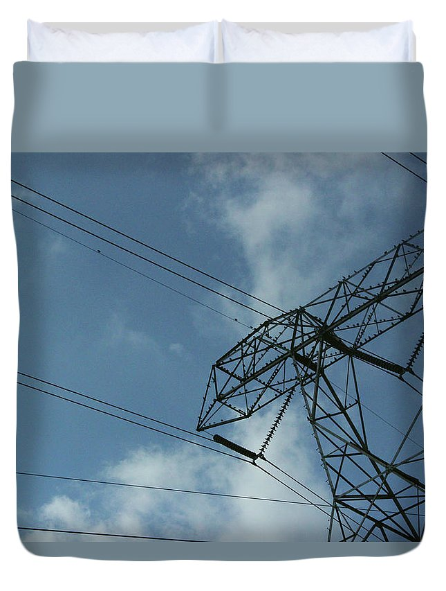 Structure Duvet Cover featuring the photograph Power Grid by Ankur
