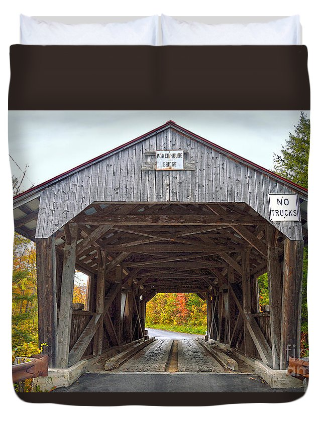 Power House Duvet Cover featuring the photograph Power House Covered Bridge by Catherine Sherman
