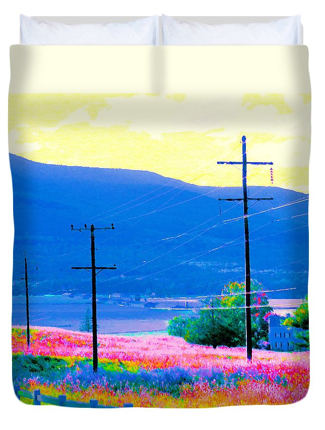 Power-line And Fence Duvet Cover featuring the photograph Power Lines 3 by Jeelan Clark