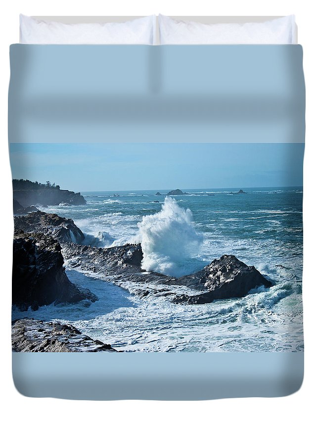 Power Duvet Cover featuring the photograph Power by Merrill Beck