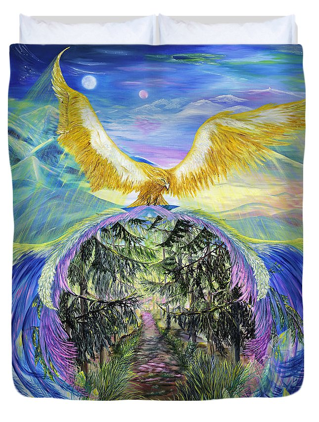 'inspiration Duvet Cover featuring the painting Power Of Great Spirit by Regina Wirsich Roberts
