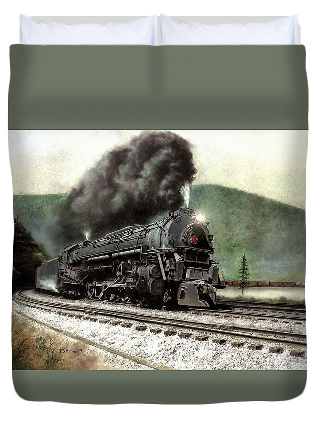 Duvet Cover featuring the painting Power On The Curve by David Mittner