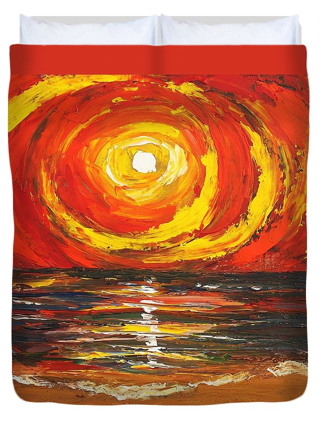 Power Duvet Cover featuring the painting Power Source by Angel Reyes