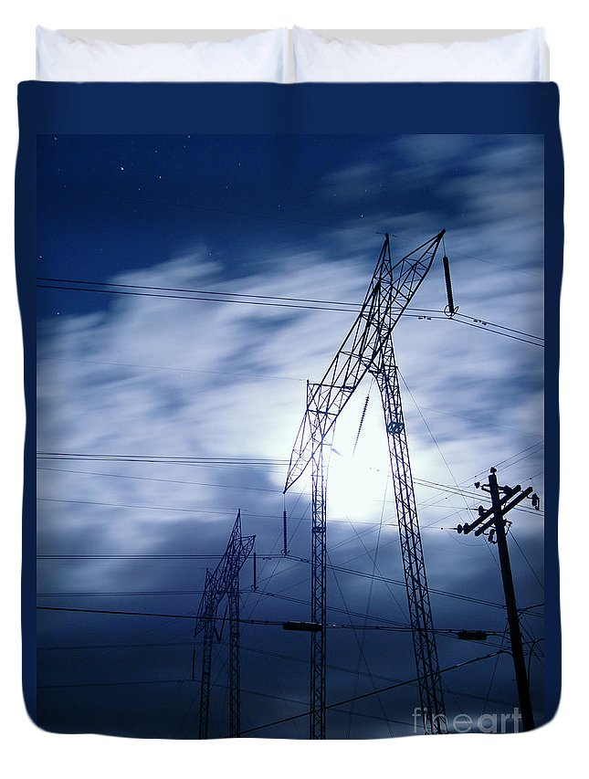 Clouds Duvet Cover featuring the photograph Power Surge by Peter Piatt