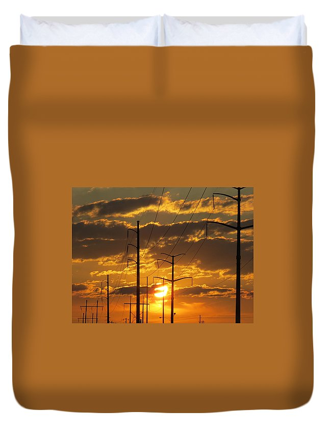 Sunrise Duvet Cover featuring the photograph Power2power by Michelle Thorns