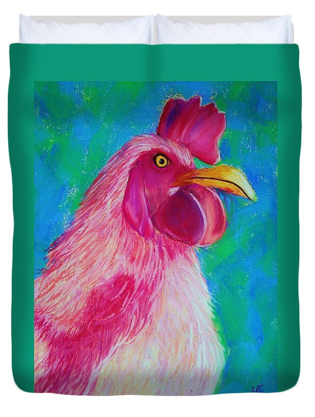 Rooster Duvet Cover featuring the painting Powerful In Pink by Melinda Etzold