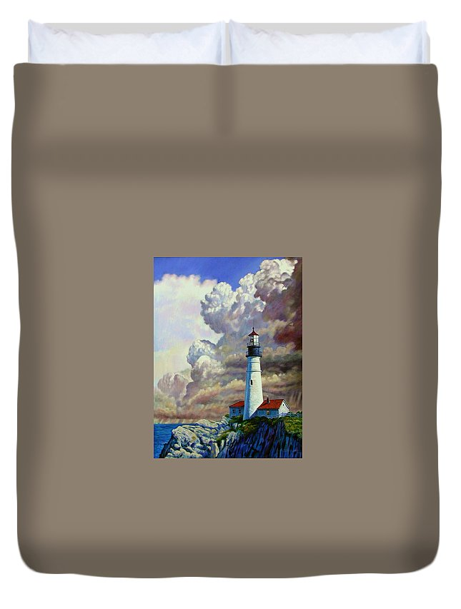 Lighthouse Duvet Cover featuring the painting Powering Up by John Lautermilch